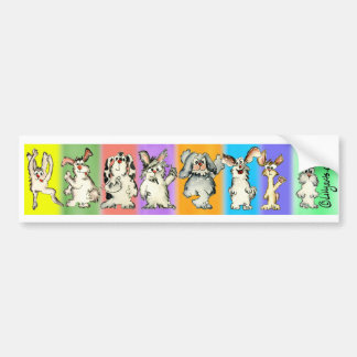 A Rabbit Rainbow Cartoon Bumper Sticker