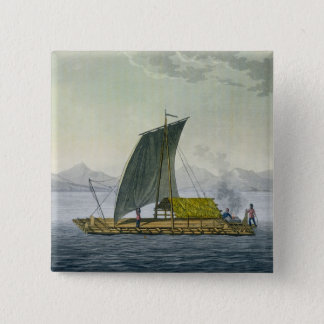 A raft leaving the port of Guayaquil, Ecuador, fro Pinback Button