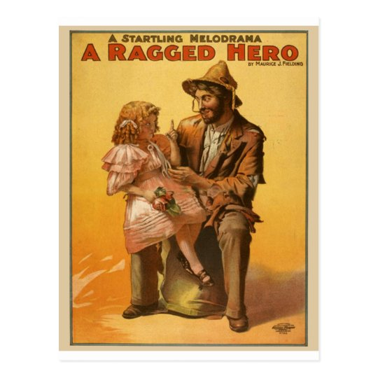 A RAGGED HERO Vintage Theater Poster Postcard