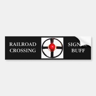 A Railroad Crossing Wig Wag Signal Bumper Sticker
