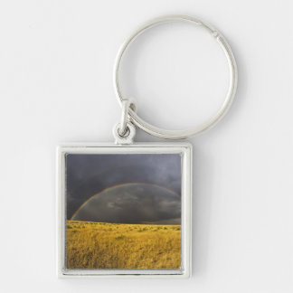 A rainbow appearing through a misty after noon keychain