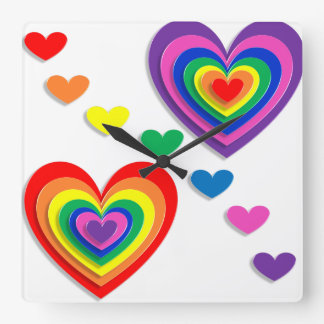 A Rainbow For My Valentine Square Wall Clock