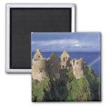 A rainbow strikes medieval Dunluce Castle on Fridge Magnet