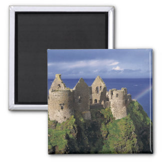A rainbow strikes medieval Dunluce Castle on 2 Inch Square Magnet