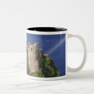 A rainbow strikes medieval Dunluce Castle on Two-Tone Coffee Mug