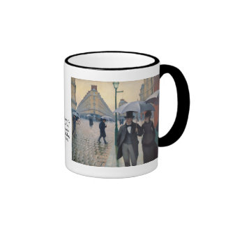 A Rainy Day in Paris by Gustave Caillebotte Ringer Coffee Mug