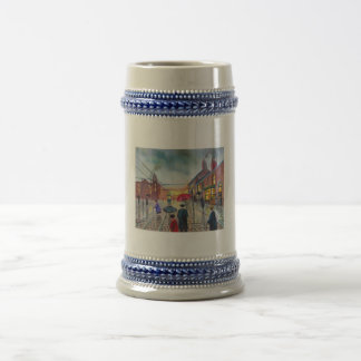 a rainy day street scene painting beer stein