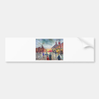 a rainy day street scene painting car bumper sticker