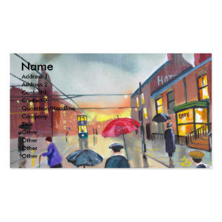 a rainy day street scene painting business card