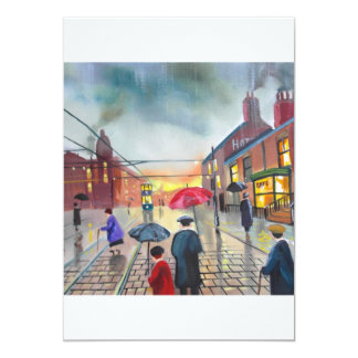 a rainy day street scene painting card