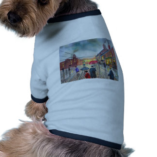 a rainy day street scene painting dog tee shirt