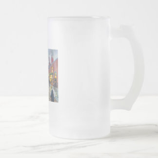 a rainy day street scene painting frosted glass beer mug