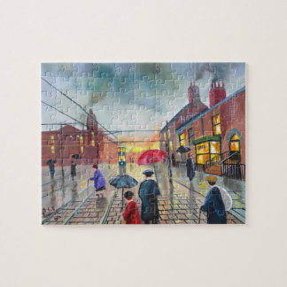 a rainy day street scene painting jigsaw puzzles