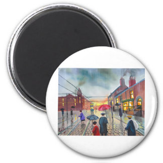a rainy day street scene painting magnet