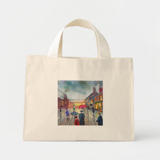 a rainy day street scene painting mini tote bag
