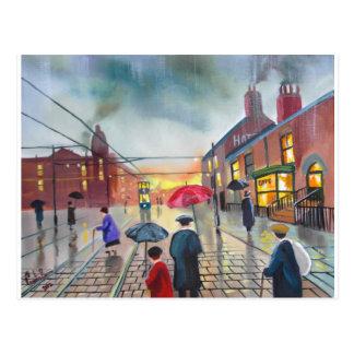 a rainy day street scene painting postcard