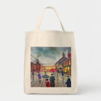 a rainy day street scene painting tote bag