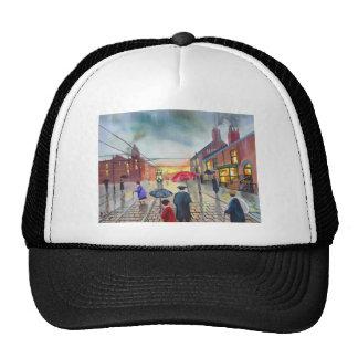a rainy day street scene painting trucker hat