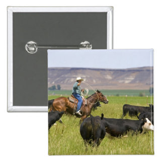 A rancher on horseback during a cattle roundup 2 2 inch square button