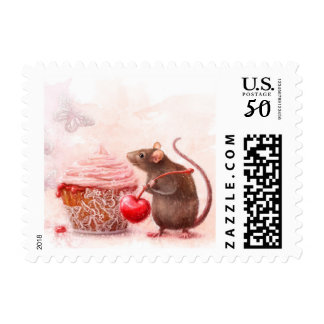 A rat and a cupcake postage