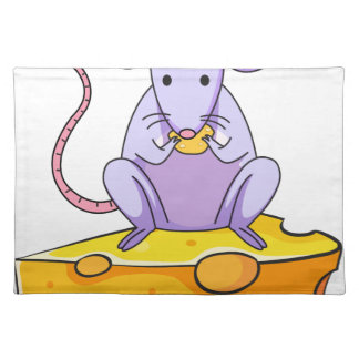 A rat eating above the big slice of cheese place mat
