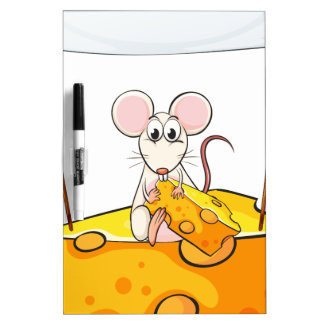 A rat sitting above the cheese with an empty banne Dry-Erase board