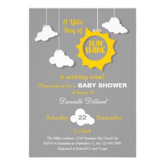 A Ray of Sunshine Baby Shower Invitation Custom Invite