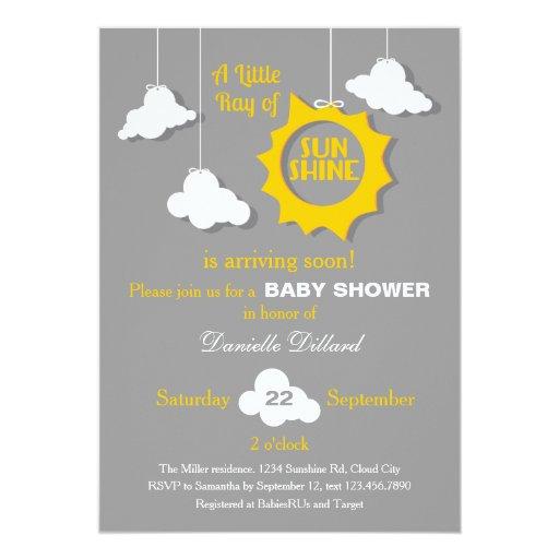 A Ray of Sunshine Baby Shower Invitation