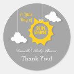 A Ray of Sunshine Baby Shower Sticker Round Stickers