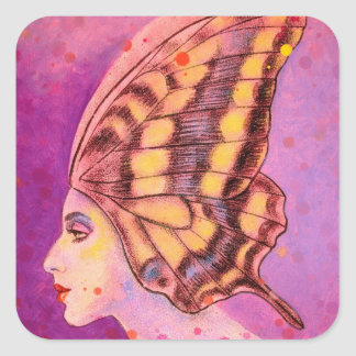 A Ready to Fly Butterfly Chapeau Square Sticker