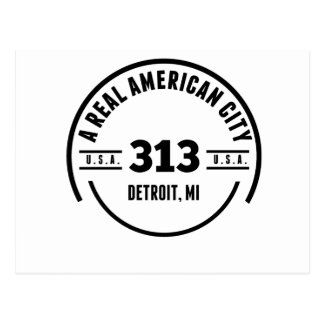 A Real American City Detroit MI Postcard