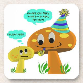 A Real Fun-Guy Mushroom Cartoon Beverage Coaster