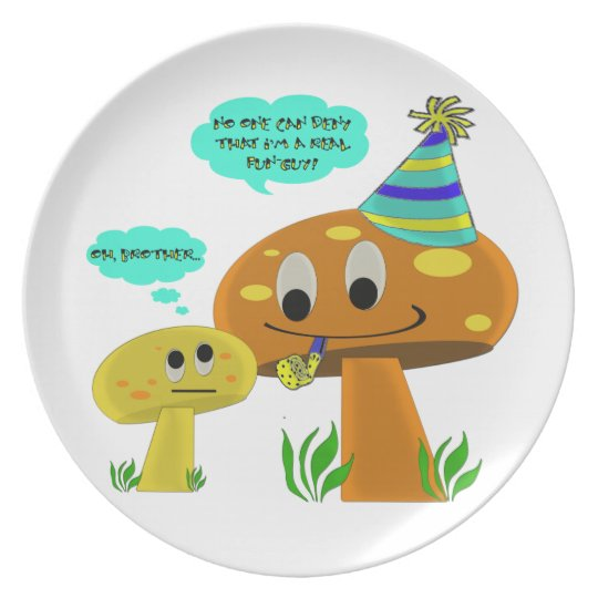 A Real Fun-Guy Mushroom Cartoon Dinner Plate