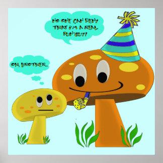 A Real Fun-Guy Mushroom Cartoon Posters