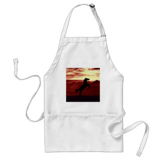 A rearing horse silhouette adult apron