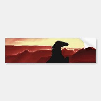 A rearing horse silhouette bumper sticker