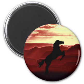 A rearing horse silhouette refrigerator magnet