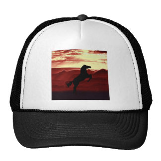 A rearing horse silhouette trucker hat