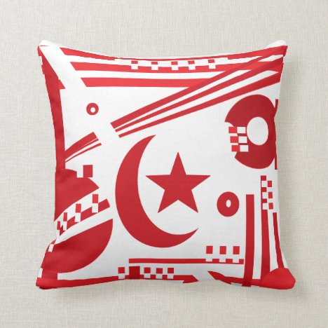 A red and white geometric monogram with star throw pillow