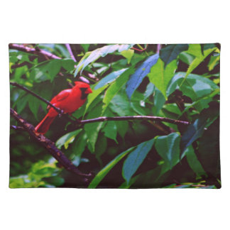A red bird sits on a post placemat