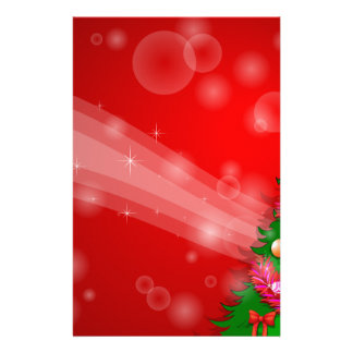 A red christmas design with a green christmas tree stationery