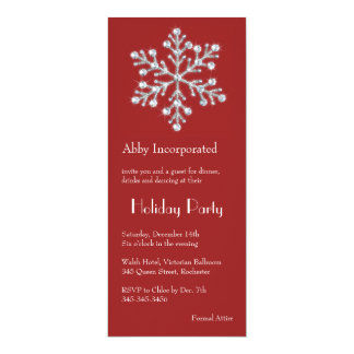 A Red Crystal Snowflake Holiday invitation