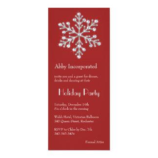 A Red Crystal Snowflake Holiday invitation