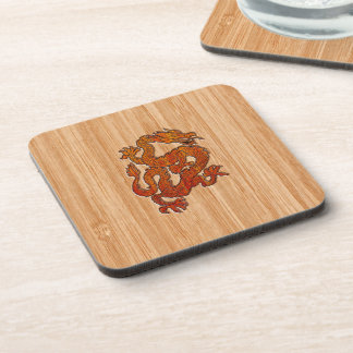 A red Dragon on Bamboo like Coaster