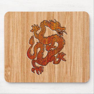 A red Dragon on Bamboo like Mouse Pad