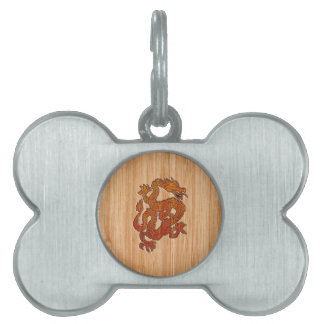 A red Dragon on Bamboo like Pet Name Tag