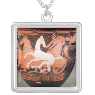 A red-figure bell krater square pendant necklace
