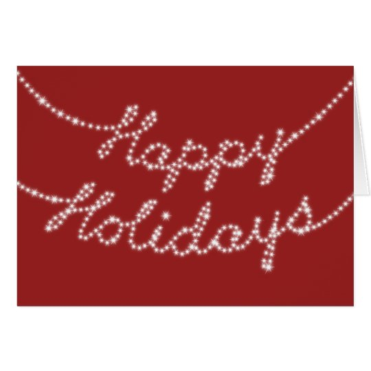 A Red Happy Holidays in Twinkle Lights Card