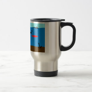 A red herring travel mug