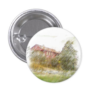 A red house Drawing 1 Inch Round Button